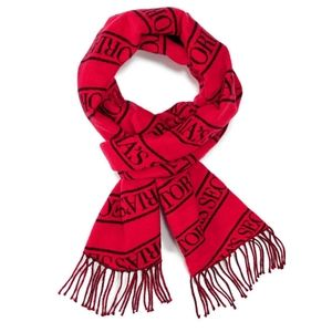 VS Winter Scarf fringed bold red/black logo print